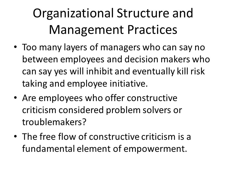 Organizational Structure and Management Practices