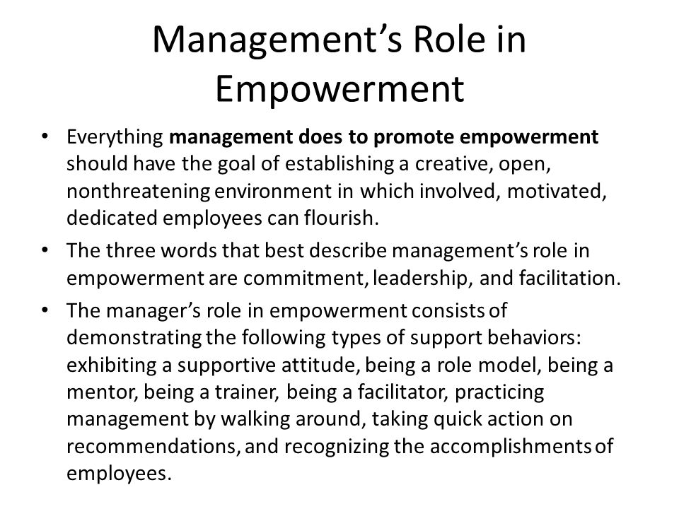 Management's Role in Empowerment