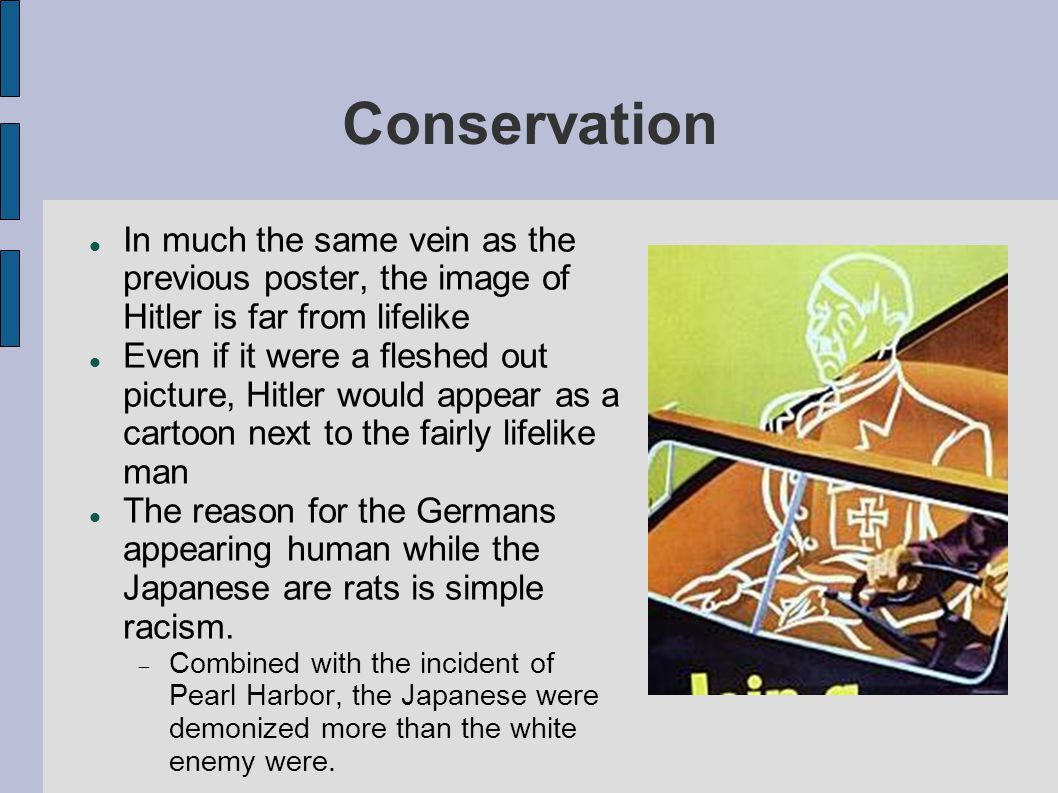 Conservation In much the same vein as the previous poster, the image of Hitler is far from lifelike.