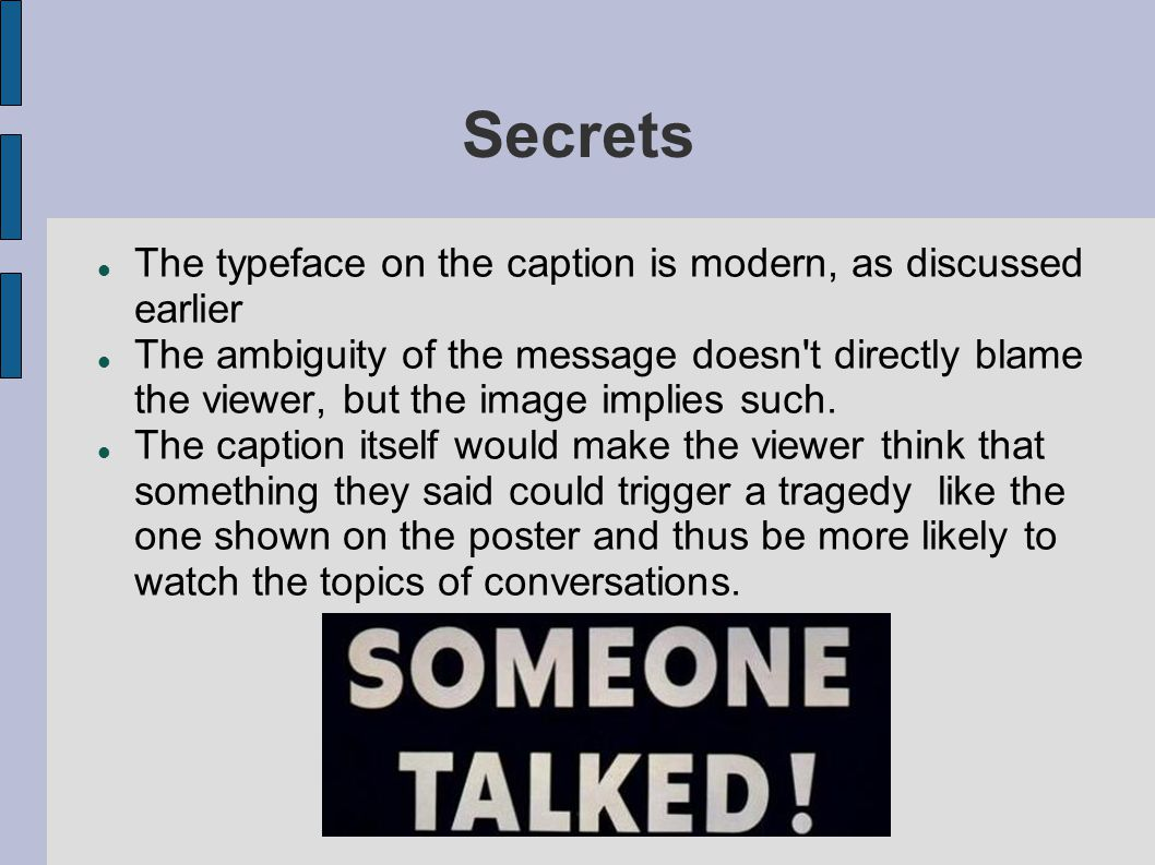 Secrets The typeface on the caption is modern, as discussed earlier