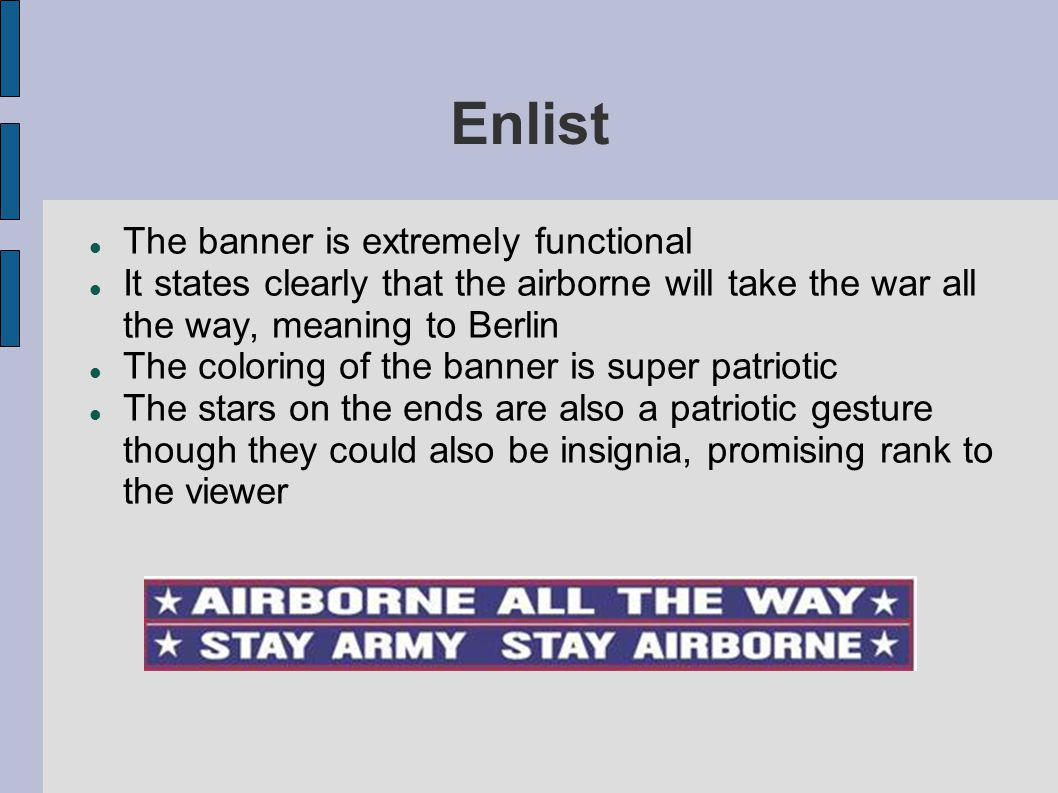 Enlist The banner is extremely functional