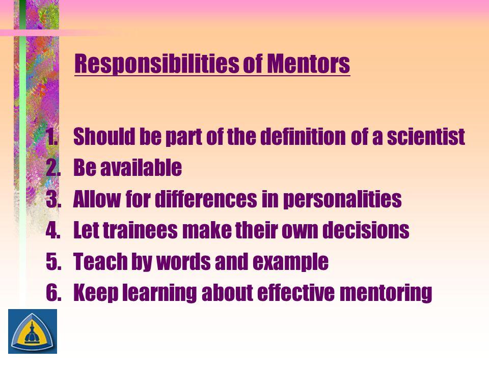 Responsibilities of Mentors