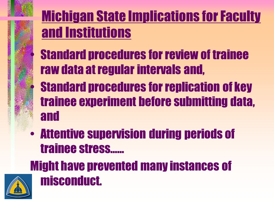 Michigan State Implications for Faculty and Institutions