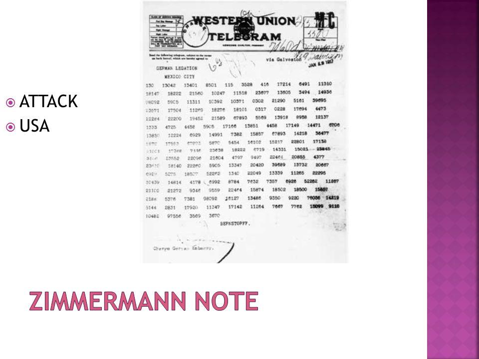 ATTACK USA Zimmermann Note
