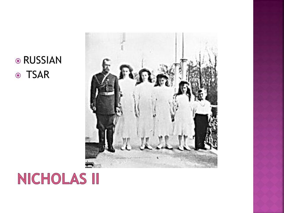 RUSSIAN TSAR Nicholas II