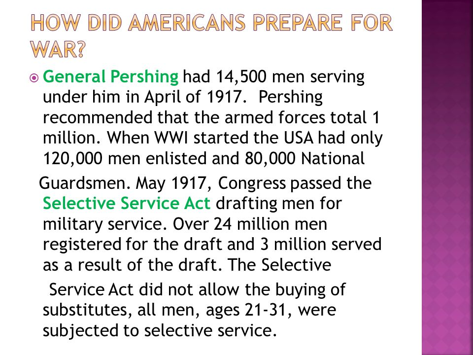 How did Americans prepare for war