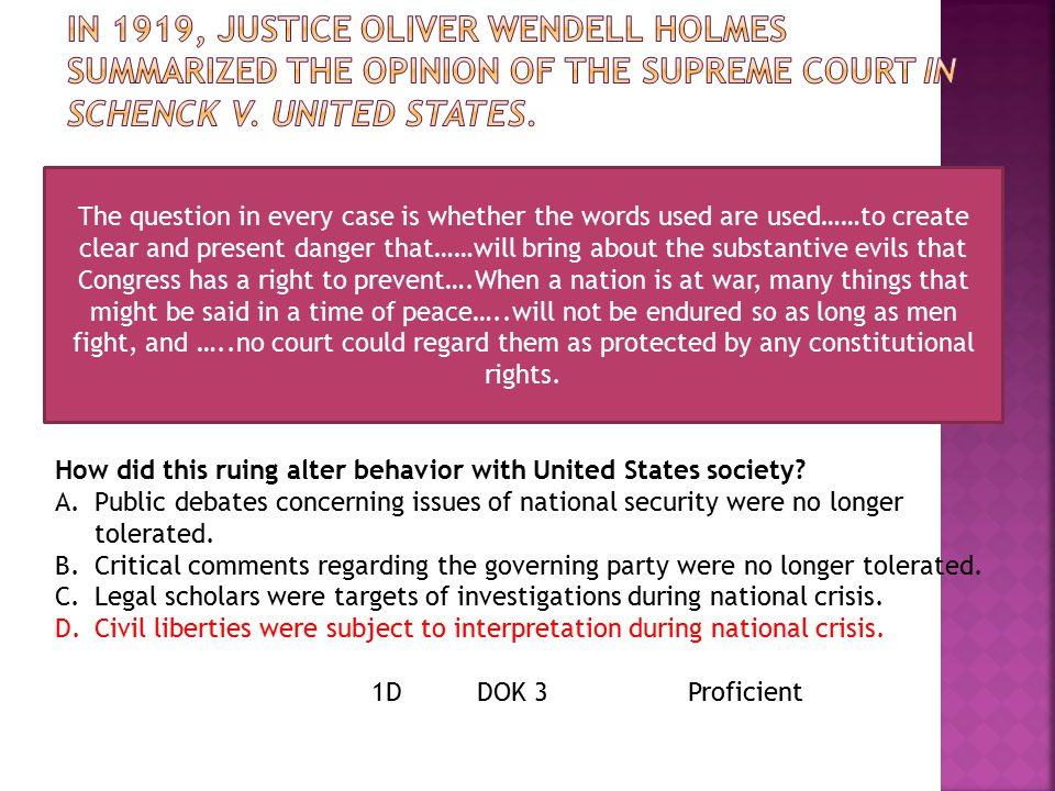 In 1919, Justice Oliver Wendell Holmes summarized the opinion of the Supreme Court in Schenck v. United States.