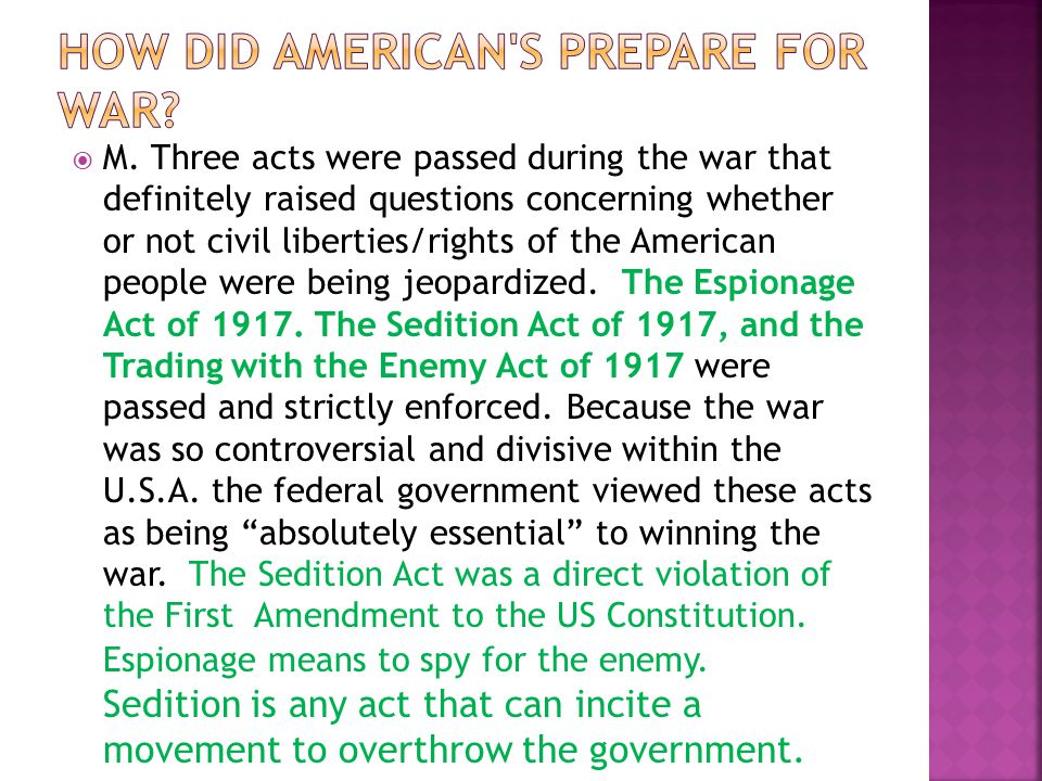 How did American s prepare for war