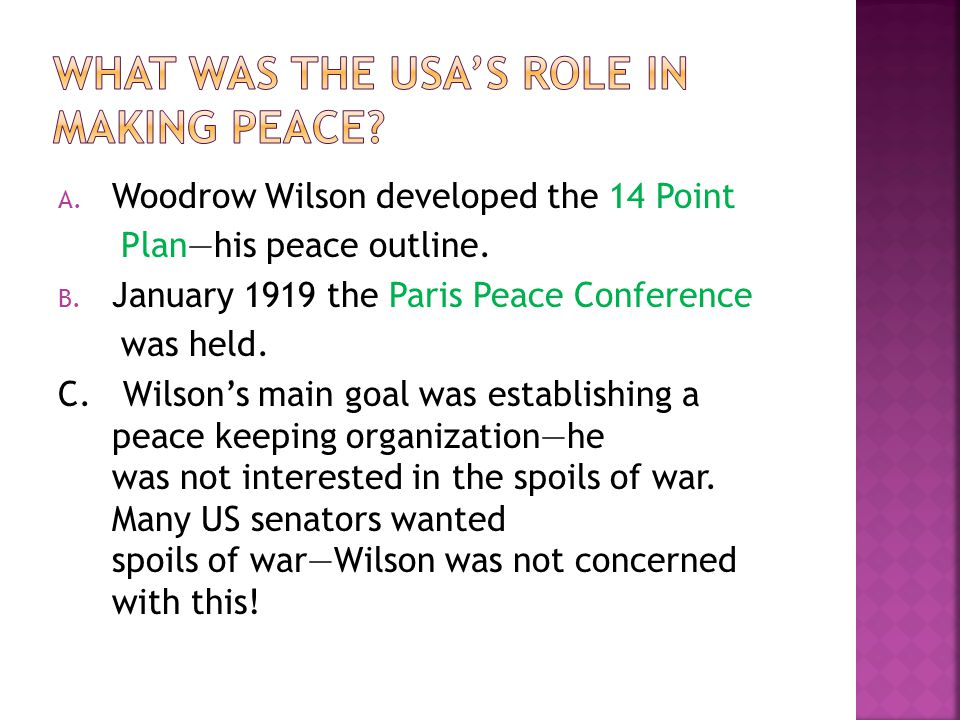 What was the USA's role in making peace