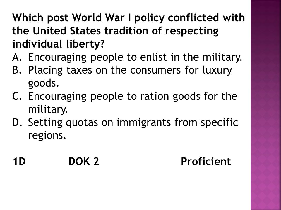 Which post World War I policy conflicted with the United States tradition of respecting individual liberty