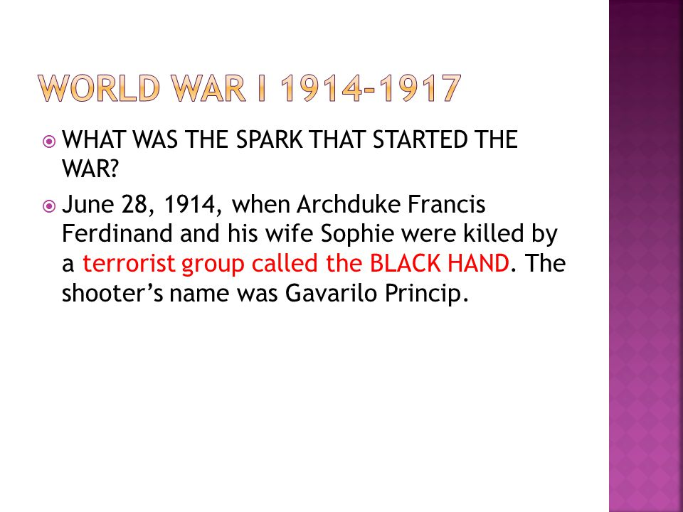 World war I 1914-1917 WHAT WAS THE SPARK THAT STARTED THE WAR