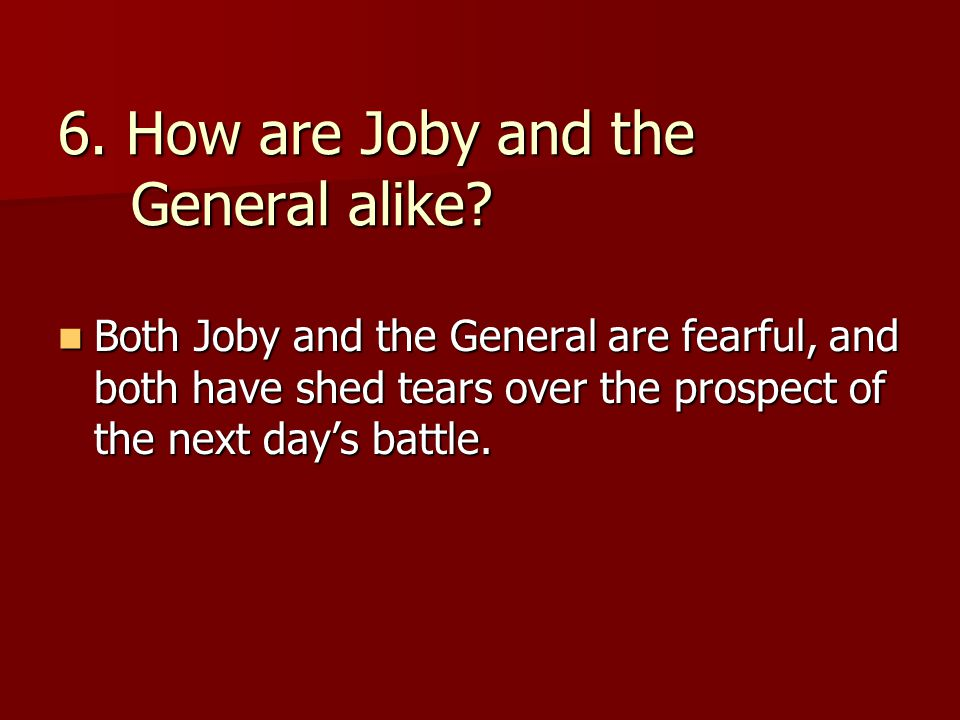 6. How are Joby and the General alike