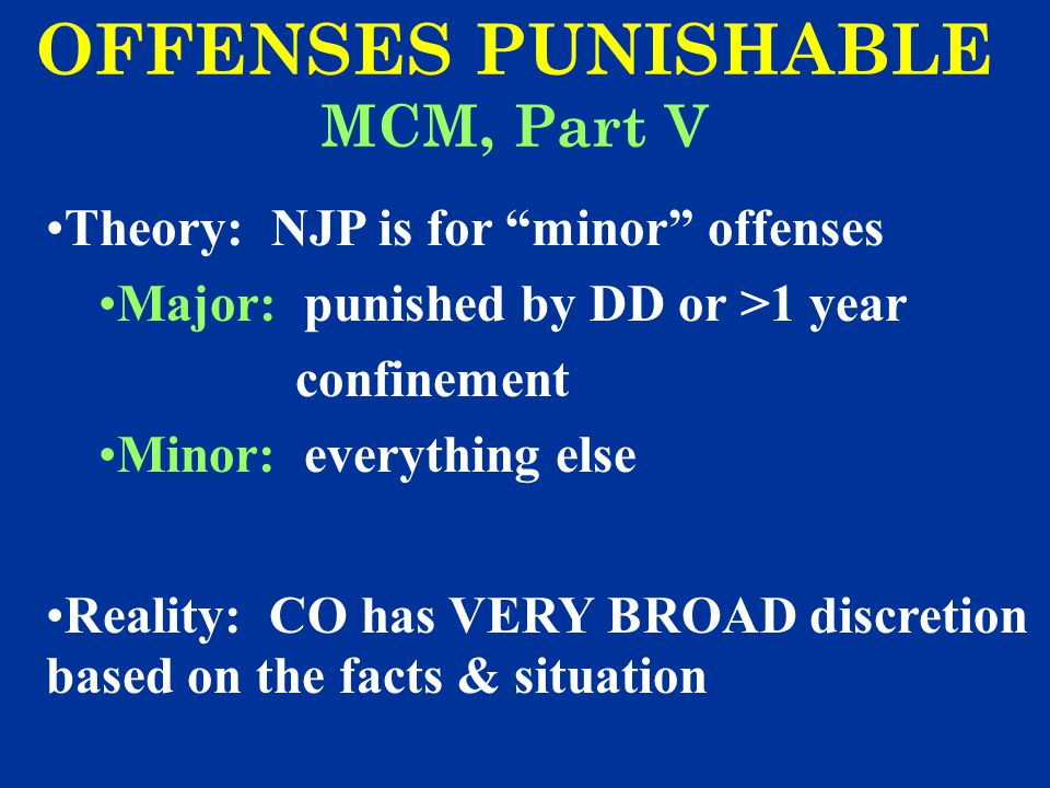 OFFENSES PUNISHABLE MCM, Part V
