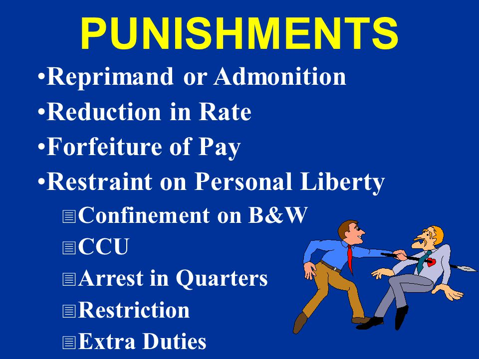 PUNISHMENTS Reprimand or Admonition Reduction in Rate
