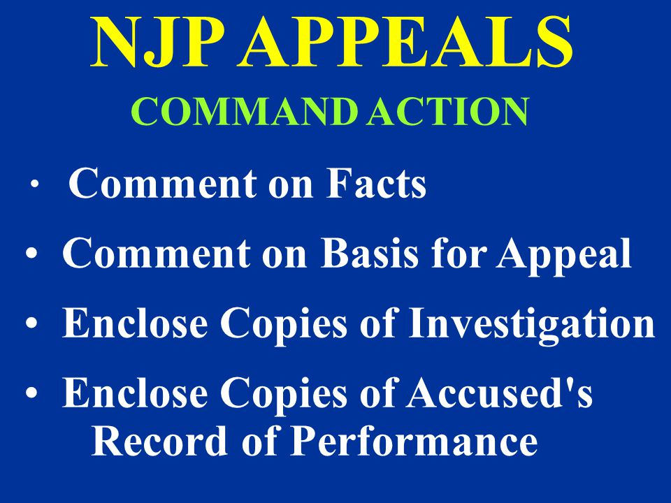 NJP APPEALS Comment on Basis for Appeal