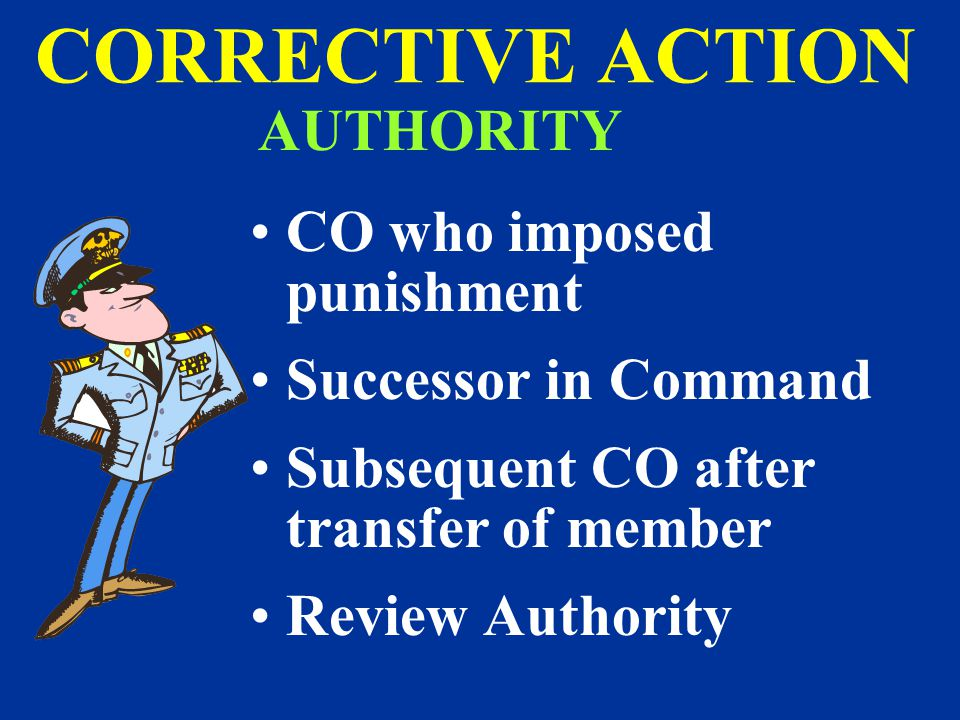 CORRECTIVE ACTION AUTHORITY CO who imposed punishment