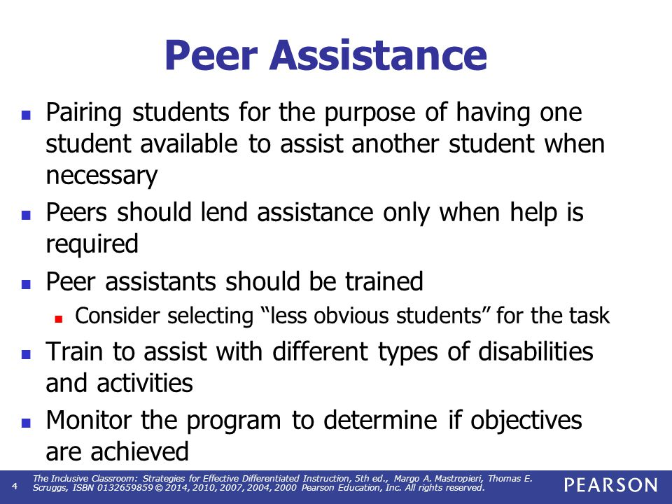 Peer Assistance Checklist