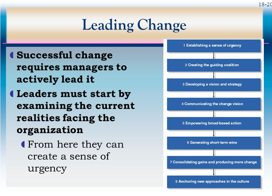 Leading Change Successful change requires managers to actively lead it