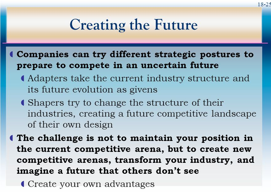 Creating the Future Companies can try different strategic postures to prepare to compete in an uncertain future.