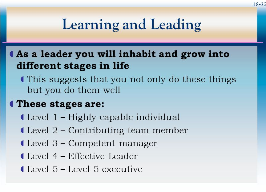 Learning and Leading As a leader you will inhabit and grow into different stages in life.