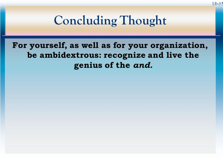Concluding Thought For yourself, as well as for your organization, be ambidextrous: recognize and live the genius of the and.