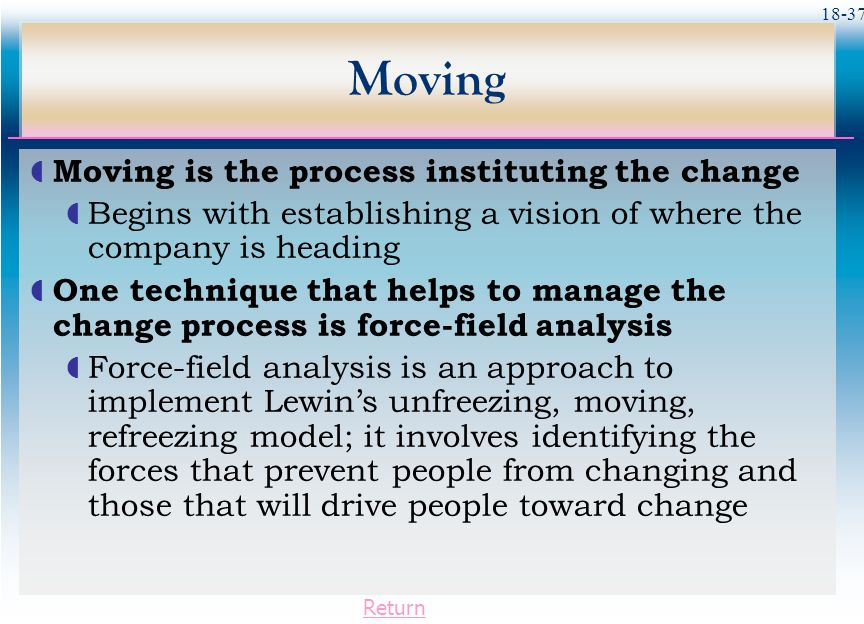 Moving Moving is the process instituting the change