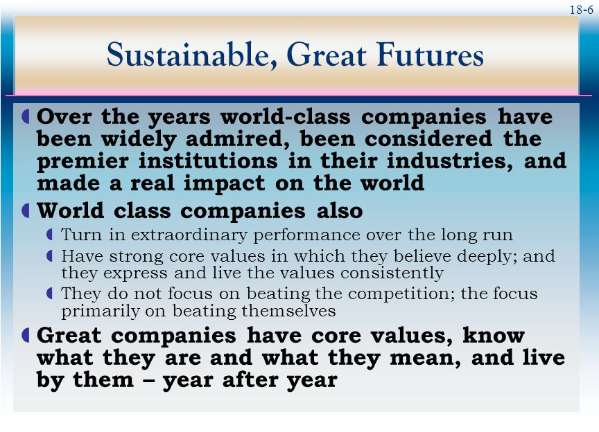 Sustainable, Great Futures