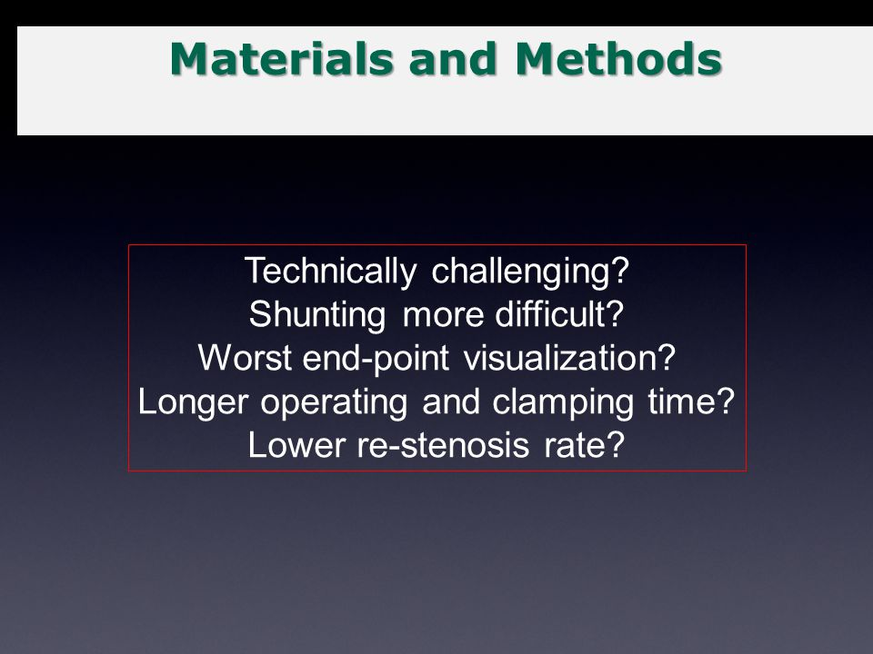Materials and Methods Technically challenging