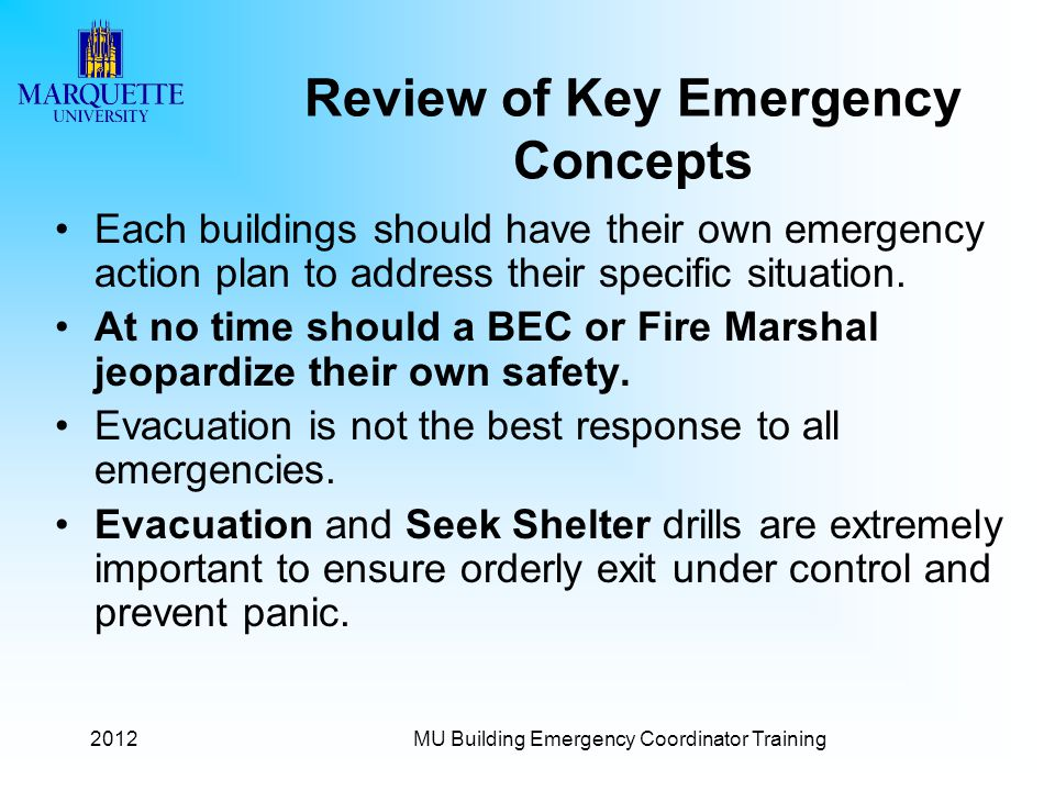 Review of Key Emergency Concepts