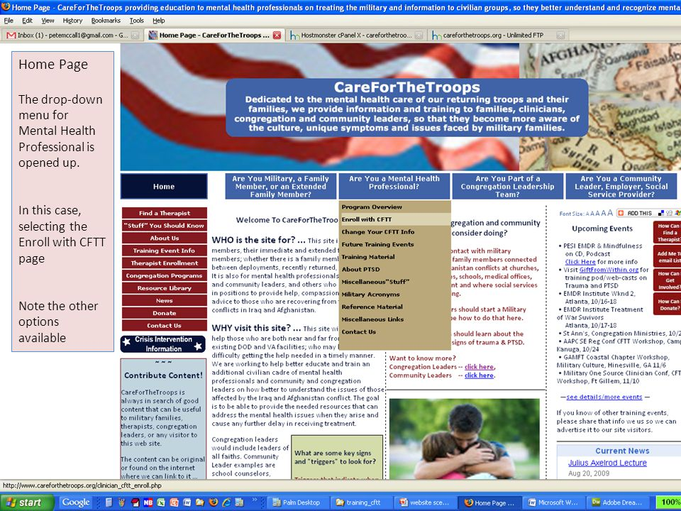 Home Page The drop-down menu for Mental Health Professional is opened up. In this case, selecting the Enroll with CFTT page.