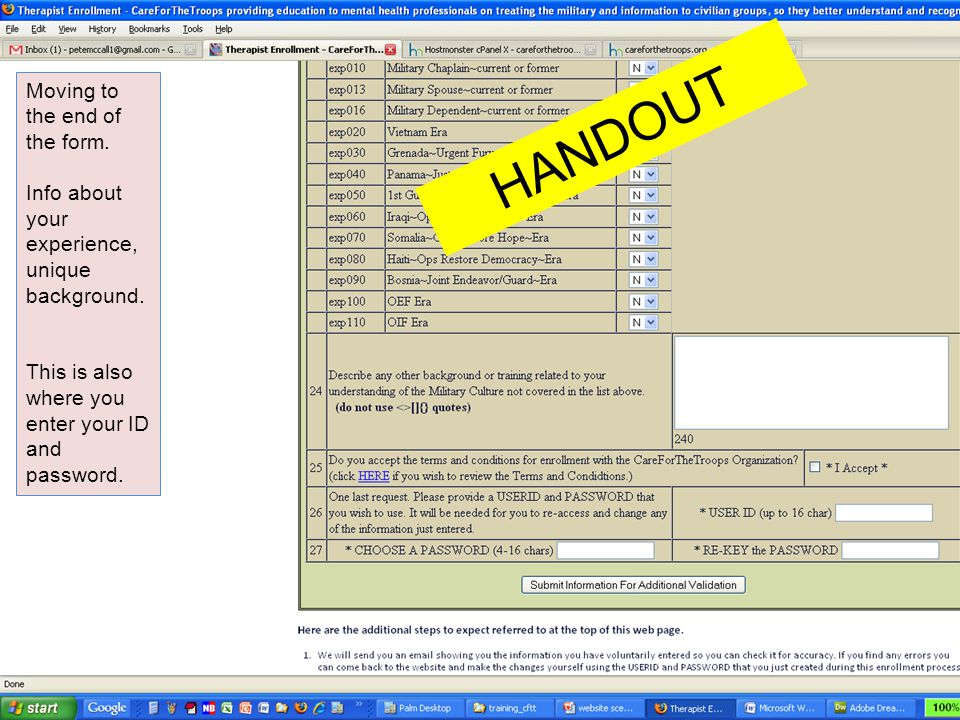 HANDOUT Moving to the end of the form.