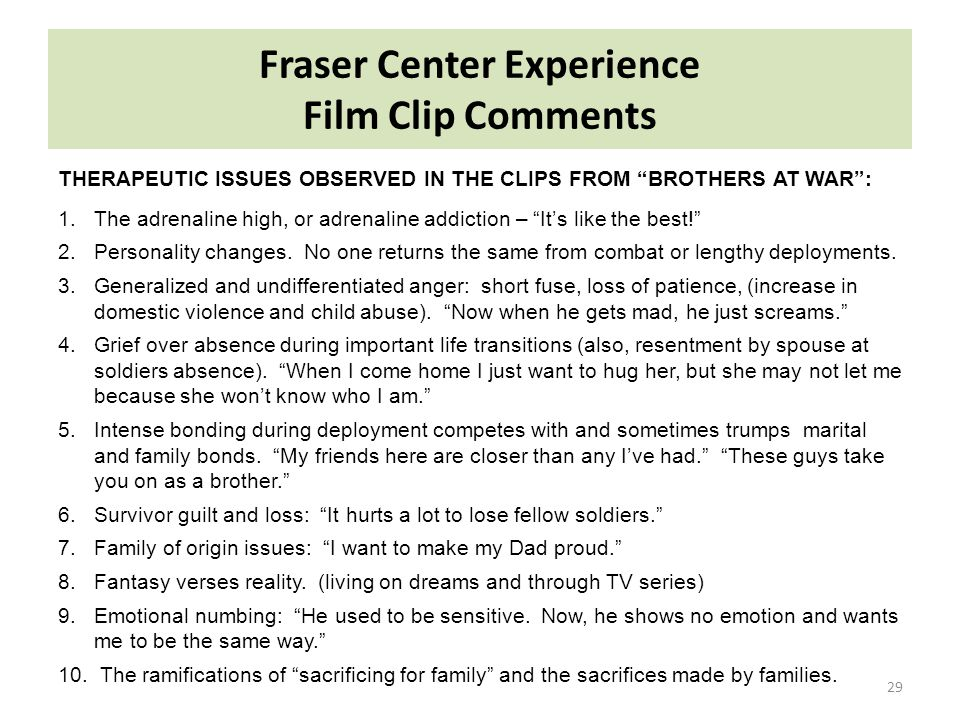Fraser Center Experience Film Clip Comments