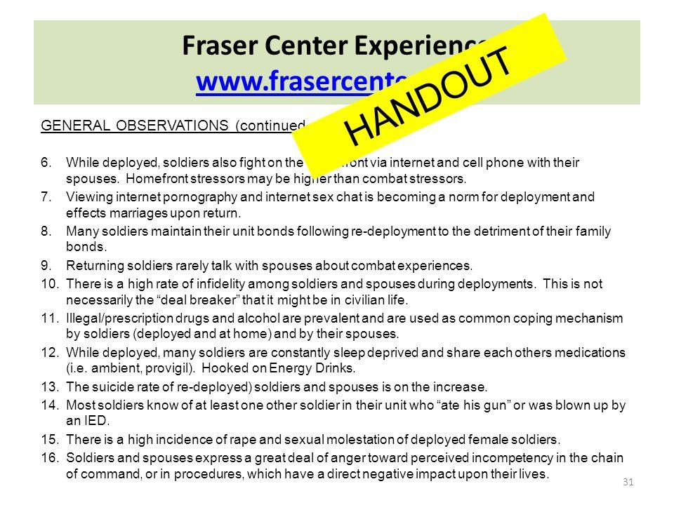 Fraser Center Experience www.frasercenter.com