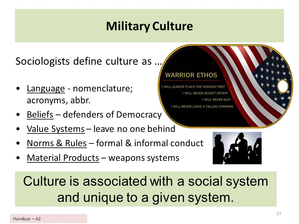 Military Culture Sociologists define culture as … Language - nomenclature; acronyms, abbr. Beliefs – defenders of Democracy.