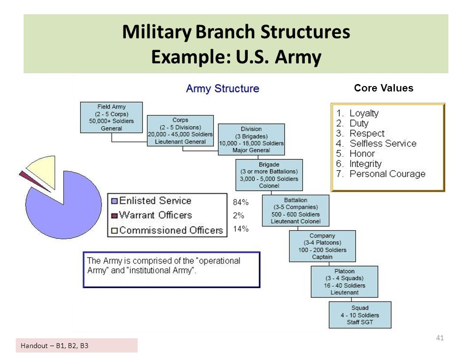 Military Branch Structures Example: U.S. Army