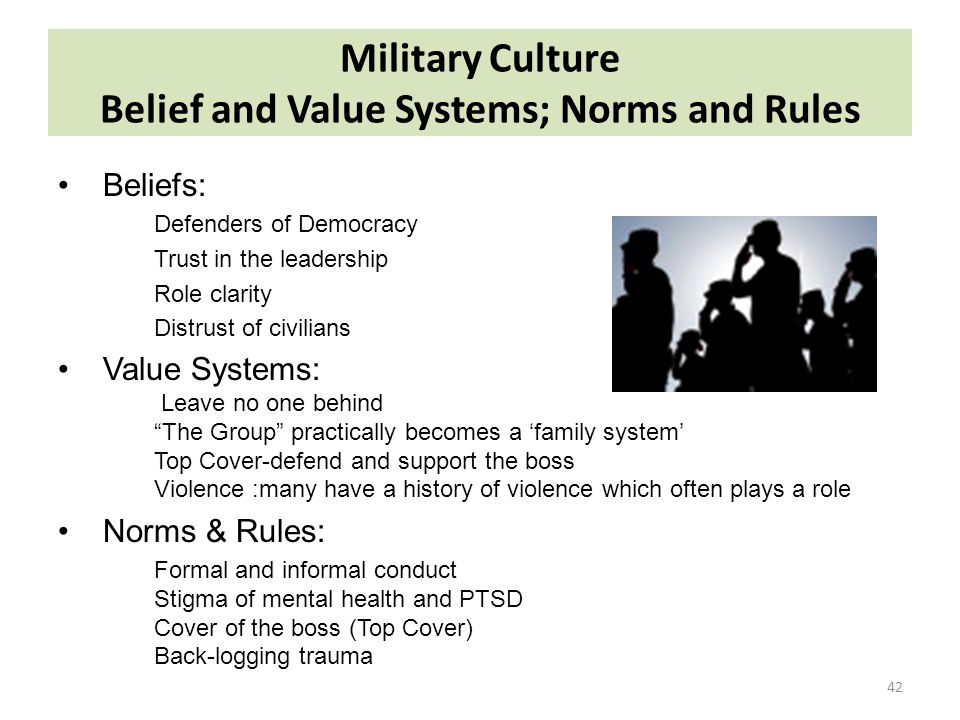 Military Culture Belief and Value Systems; Norms and Rules