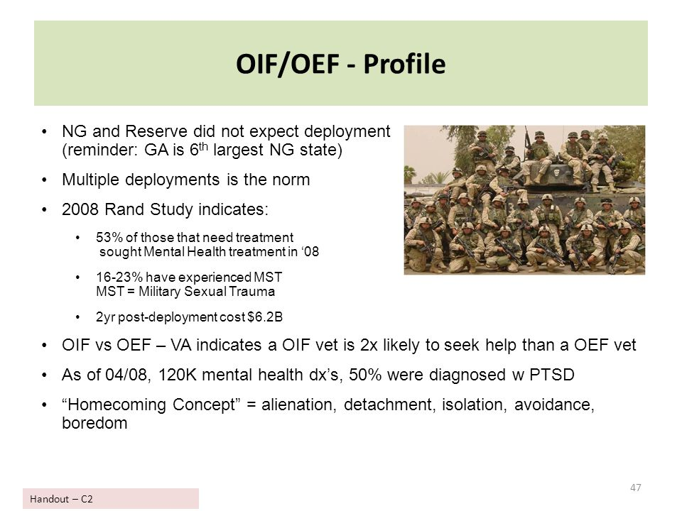 OIF/OEF - Profile NG and Reserve did not expect deployment (reminder: GA is 6th largest NG state) Multiple deployments is the norm.