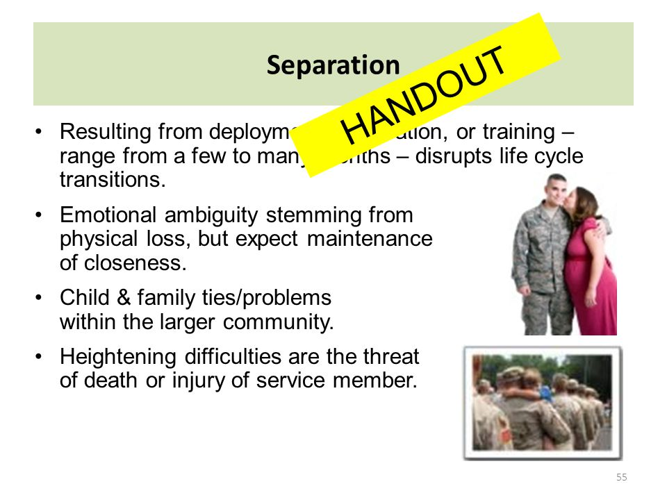 Separation HANDOUT. Resulting from deployments, relocation, or training – range from a few to many months – disrupts life cycle transitions.