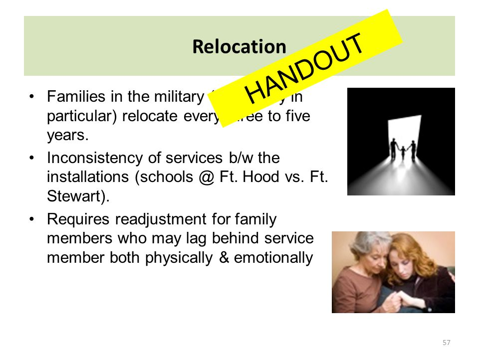 Relocation HANDOUT. Families in the military (U.S. Army in particular) relocate every three to five years.