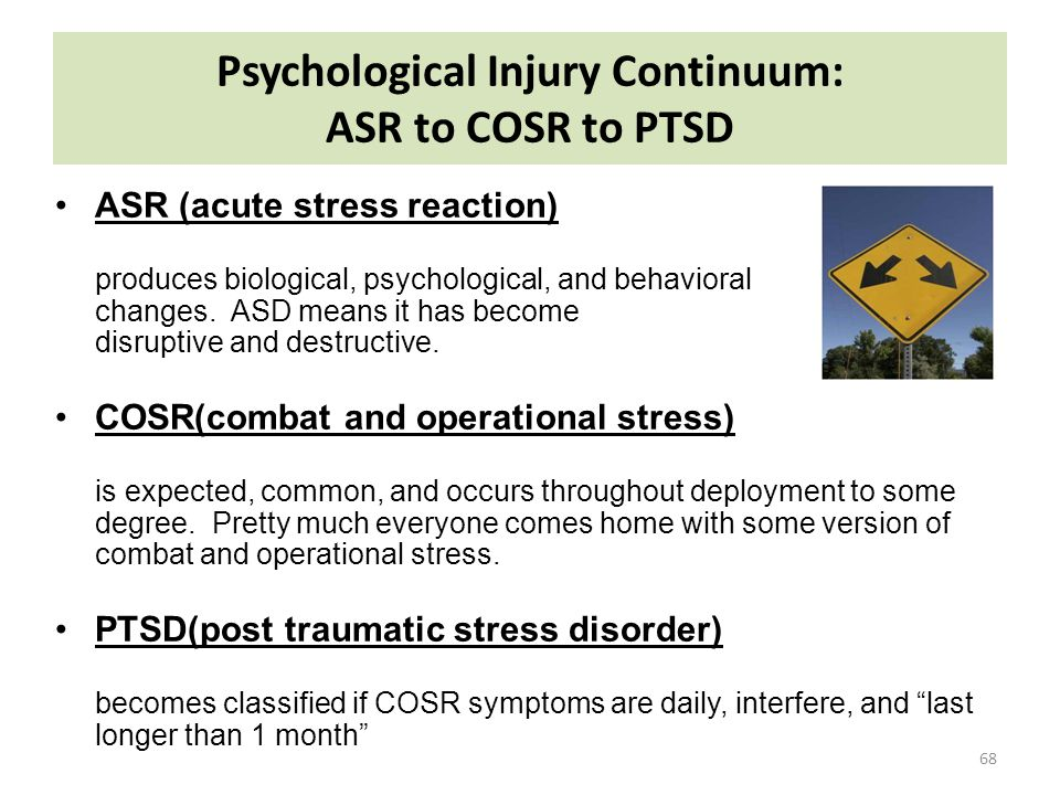 Psychological Injury Continuum: ASR to COSR to PTSD