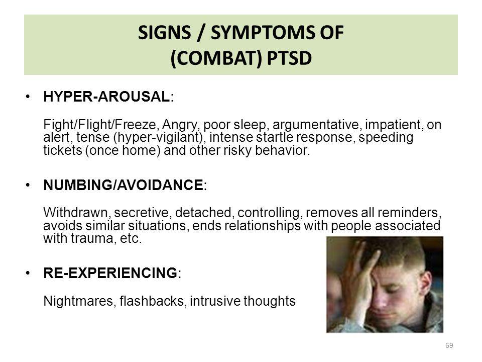 SIGNS / SYMPTOMS OF (COMBAT) PTSD