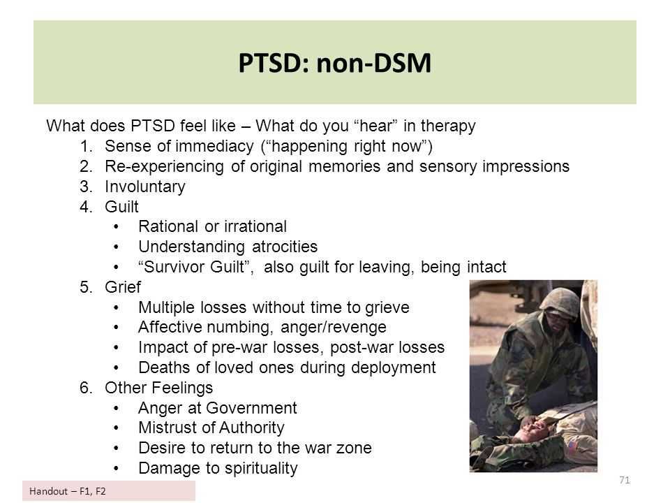 PTSD: non-DSM What does PTSD feel like – What do you hear in therapy