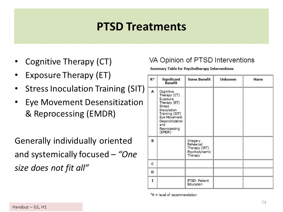 PTSD Treatments Cognitive Therapy (CT) Exposure Therapy (ET)