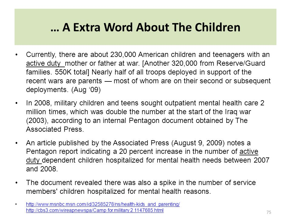 … A Extra Word About The Children