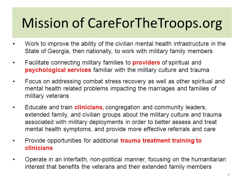 Mission of CareForTheTroops.org