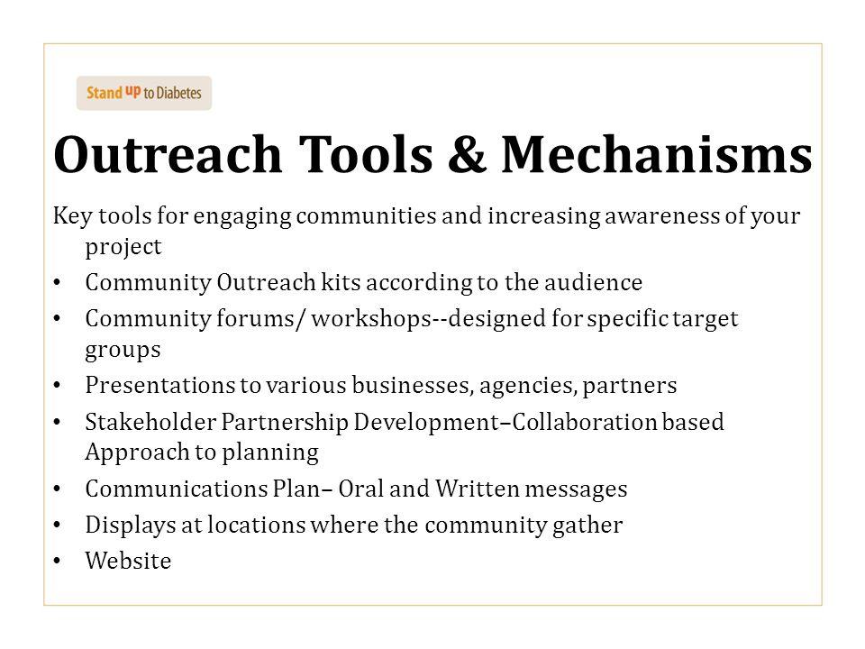 Outreach Tools & Mechanisms
