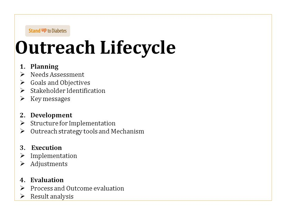 Outreach Lifecycle Planning Needs Assessment Goals and Objectives