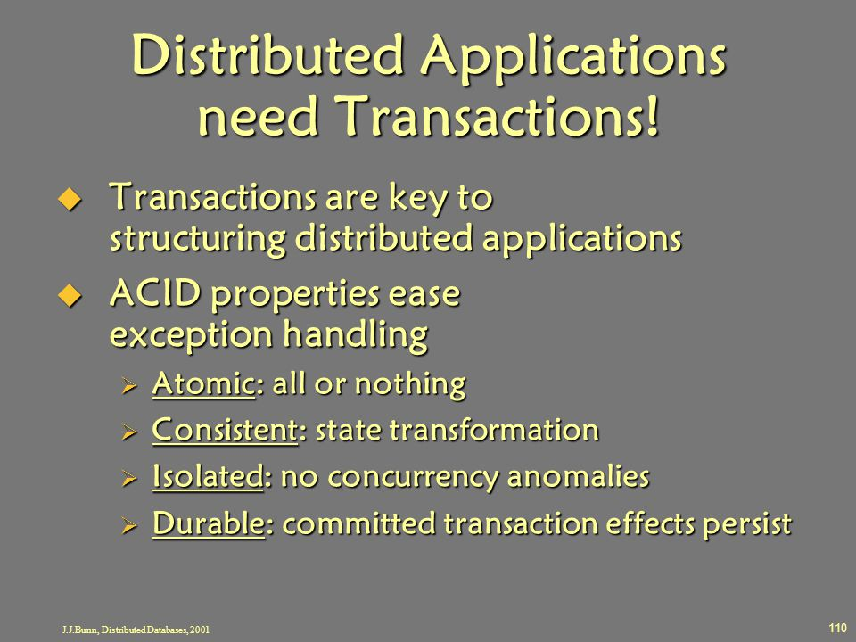 Distributed Applications need Transactions!