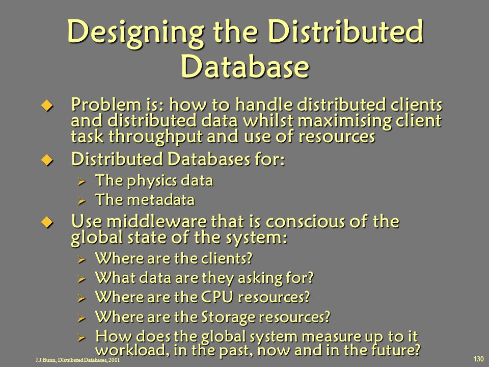 Designing the Distributed Database