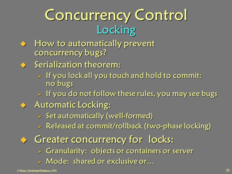 Concurrency Control Locking